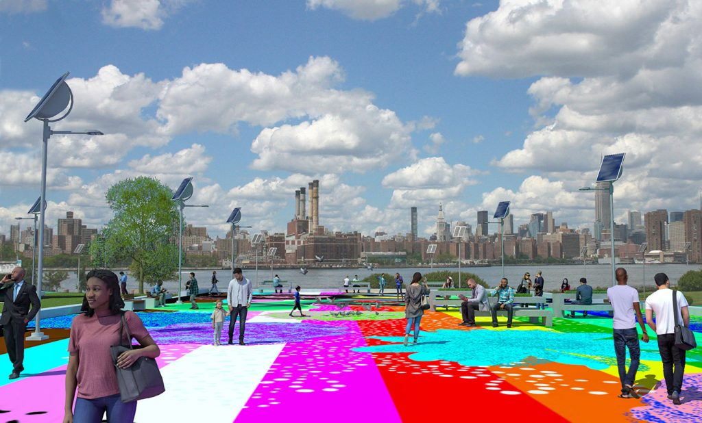 Rendering of new park slab design with people walking on technicolored striped paint.
